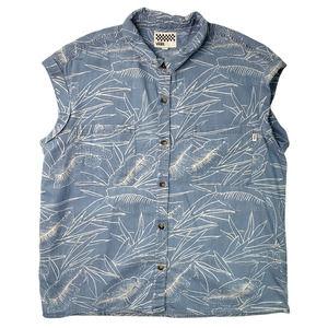 VANS XL Blue Chambray Sleeveless Button Up Shirt